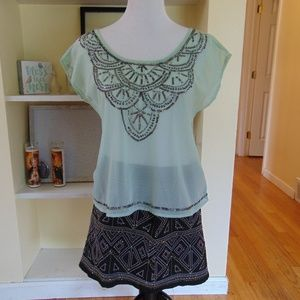 Decree Sheer Cut-Out Blouse w/ BeadedDetail